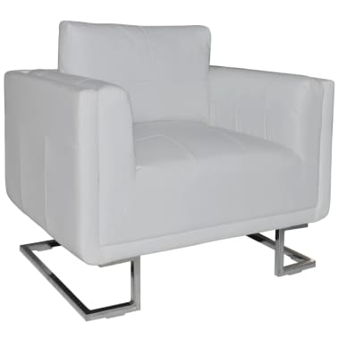 Luxury Leather Cube Armchair White with Chrome Feet[1/5]