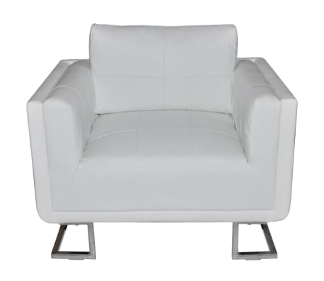 Luxury Leather Cube Armchair White with Chrome Feet ...