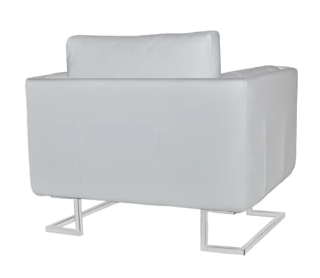 Luxury Leather Cube Armchair White with Chrome Feet[4/5]