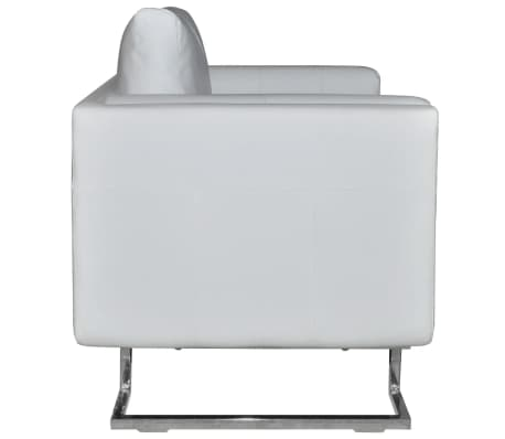 Luxury Leather Cube Armchair White with Chrome Feet[5/5]