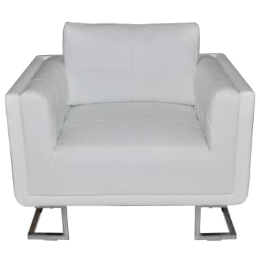 Luxury Leather Cube Armchair White with Chrome Feet[2/5]