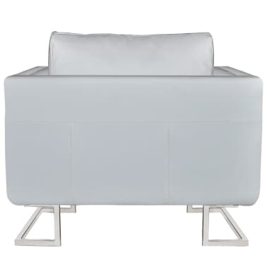 Luxury Leather Cube Armchair White with Chrome Feet[3/5]