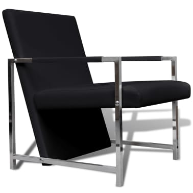 Artificial Leather Cube Relax Armchair Black with Chrome Feet[2/5]
