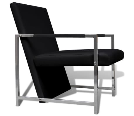 Artificial Leather Cube Relax Armchair Black with Chrome Feet[3/5]
