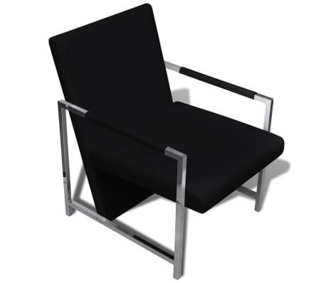 Artificial Leather Cube Relax Armchair Black with Chrome Feet[5/5]
