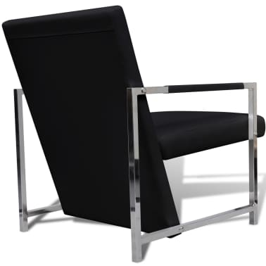 Artificial Leather Cube Relax Armchair Black with Chrome Feet[4/5]