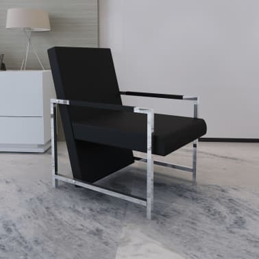 Artificial Leather Cube Relax Armchair Black with Chrome Feet[1/5]