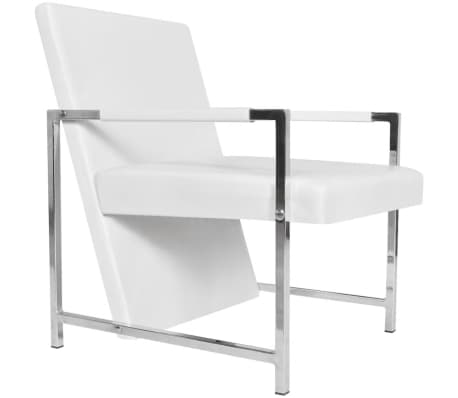 Artificial Leather Cube Relax Armchair White with Chrome Feet[2/5]