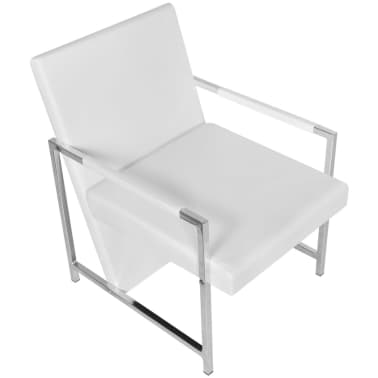 Artificial Leather Cube Relax Armchair White with Chrome Feet[3/5]