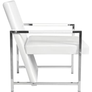 Artificial Leather Cube Relax Armchair White with Chrome Feet[5/5]
