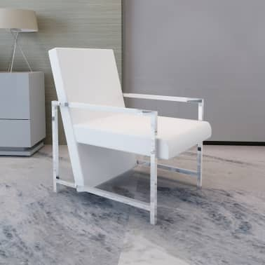Artificial Leather Cube Relax Armchair White with Chrome Feet[1/5]