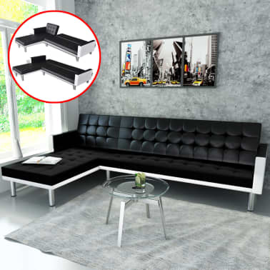 Vidaxl Sofa Bed L Shaped Artificial Leather Adjustable Black