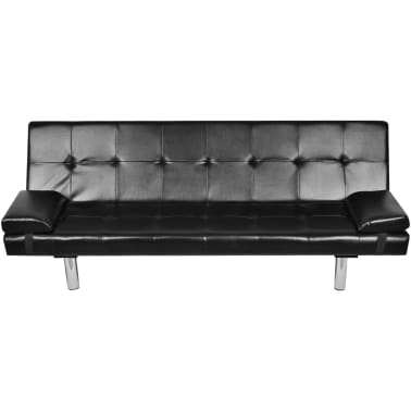 vidaXL Sofa Bed with Two Pillows Artificial Leather Adjustable Black[4/7]