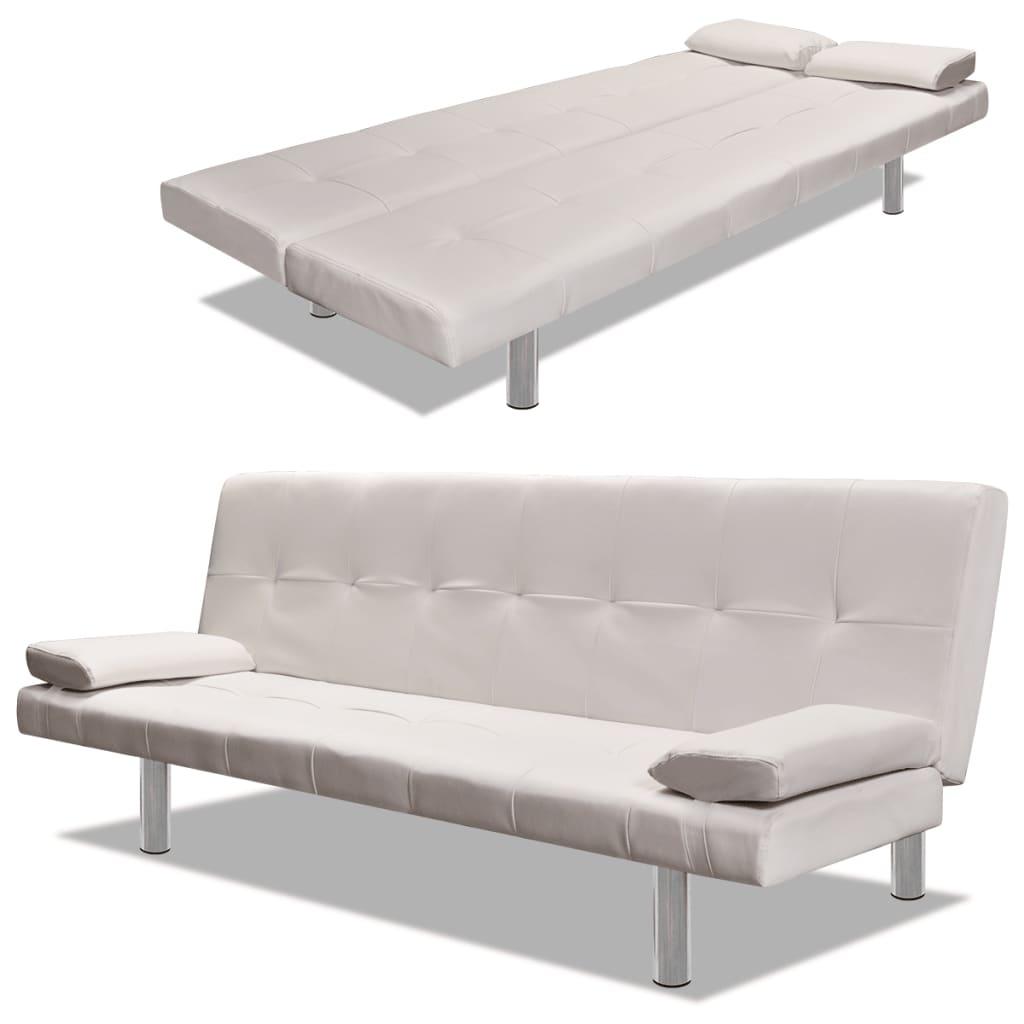 Details about Cream White Artificial Leather Convertible Sofa Bed Futon  Couch Lounge Modern