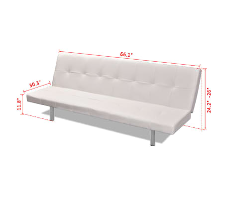 vidaXL Sofa Bed with Two Pillows Artificial Leather Adjustable Cream White[8/8]