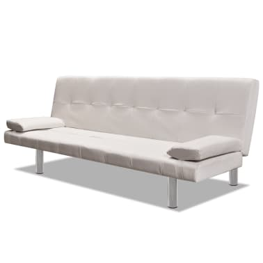 vidaXL Sofa Bed with Two Pillows Artificial Leather Adjustable Cream White[3/8]