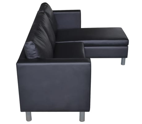 vidaXL Sectional Sofa 3-Seater Artificial Leather Black[5/9]