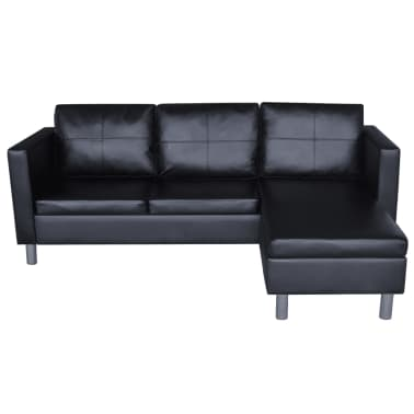 vidaXL Sectional Sofa 3-Seater Artificial Leather Black[4/9]
