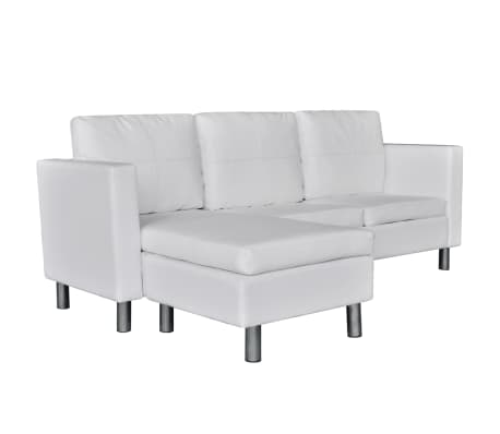 vidaXL Sectional Sofa 3-Seater Artificial Leather White[2/9]