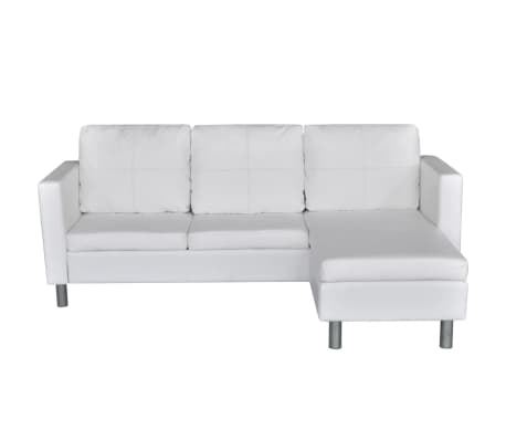 vidaXL Sectional Sofa 3-Seater Artificial Leather White[4/9]