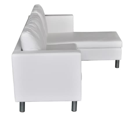 vidaXL Sectional Sofa 3-Seater Artificial Leather White[5/9]