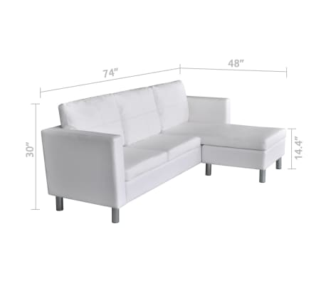 vidaXL Sectional Sofa 3-Seater Artificial Leather White[9/9]