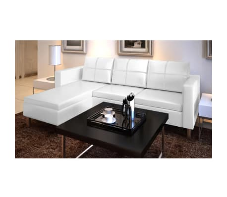 White Artificial Leather Sectional Sofa Configurable Chaise Lounge