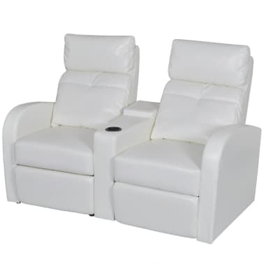Artificial Leather Home Cinema Recliner Reclining Sofa 2-seat White[1/6]