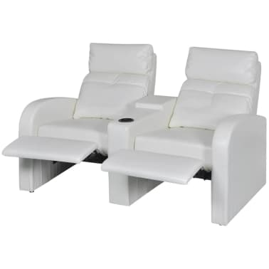 Artificial Leather Home Cinema Recliner Reclining Sofa 2-seat White[2/6]