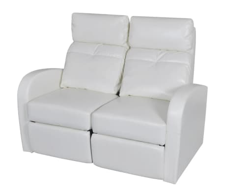 vidaXL 2-Seater Home Theater Recliner Sofa White Faux Leather