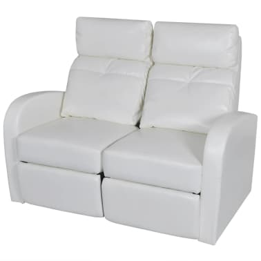 Artificial Leather Home Cinema Recliner Reclining Sofa 2-seat White[1/5]