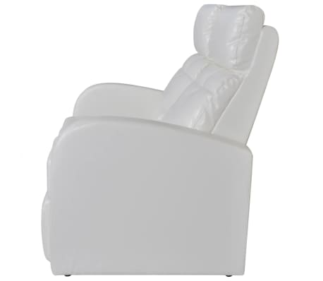 Artificial Leather Home Cinema Recliner Reclining Sofa 2-seat White[3/5]