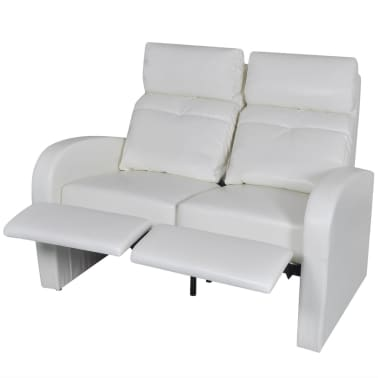 Artificial Leather Home Cinema Recliner Reclining Sofa 2-seat White[2/5]