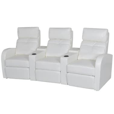 Artificial Leather Home Cinema Recliner Reclining Sofa 3-seat White[1/6]