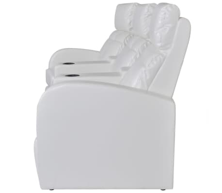 Artificial Leather Home Cinema Recliner Reclining Sofa 3-seat White[3/6]