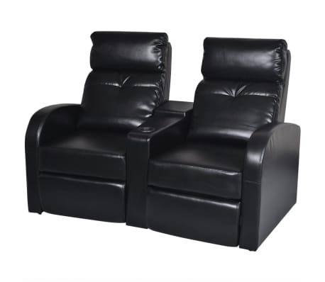 vidaXL 2-Seater Home Theater Recliner Sofa Black Faux Leather