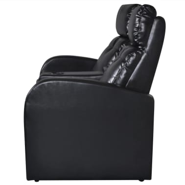 Artificial Leather Home Cinema Recliner Reclining Sofa 2-seat Black[3/6]