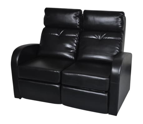 Artificial Leather Home Cinema Recliner Reclining Sofa 2-seat Black[1/5]