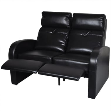 Artificial Leather Home Cinema Recliner Reclining Sofa 2-seat Black[2/5]