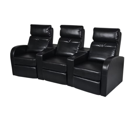 Magnificent Artificial Leather Home Cinema Recliner Reclining Sofa 3 Seat Black Squirreltailoven Fun Painted Chair Ideas Images Squirreltailovenorg