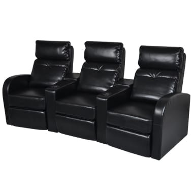 Artificial Leather Home Cinema Recliner Reclining Sofa 3-seat Black[1/6]