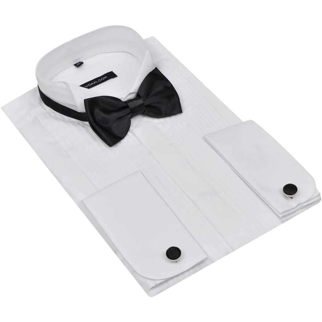 Afbeelding van vidaXL Geplisseerd smoking hemd met manchetknopen en vlinderdas maat M wit