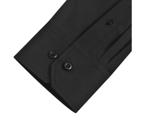 Cămăși business pentru bărbați, mărime M, negru, 3 buc.[6/7]