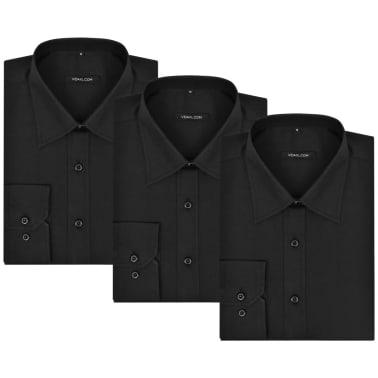 Cămăși business pentru bărbați, mărime M, negru, 3 buc.[4/7]