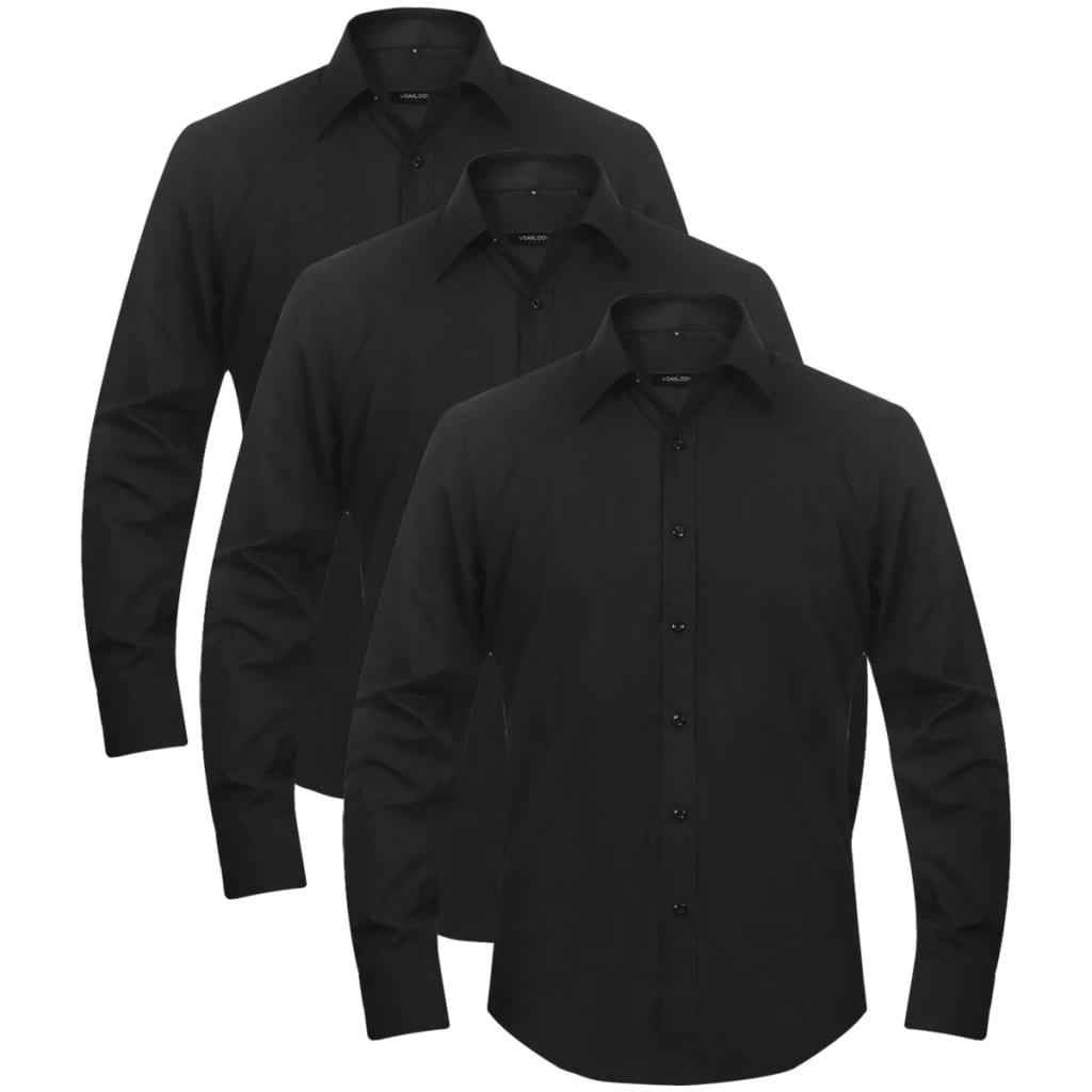 vidaXL Pánská business košile 3 ks černá vel. L