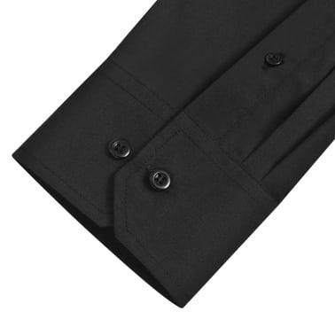 Cămăși business pentru bărbați, mărime L, negru, 3 buc.[6/7]