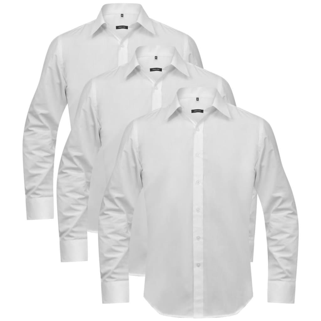 Cămăși business pentru bărbați, mărime S, alb, 3 buc. imagine vidaxl.ro