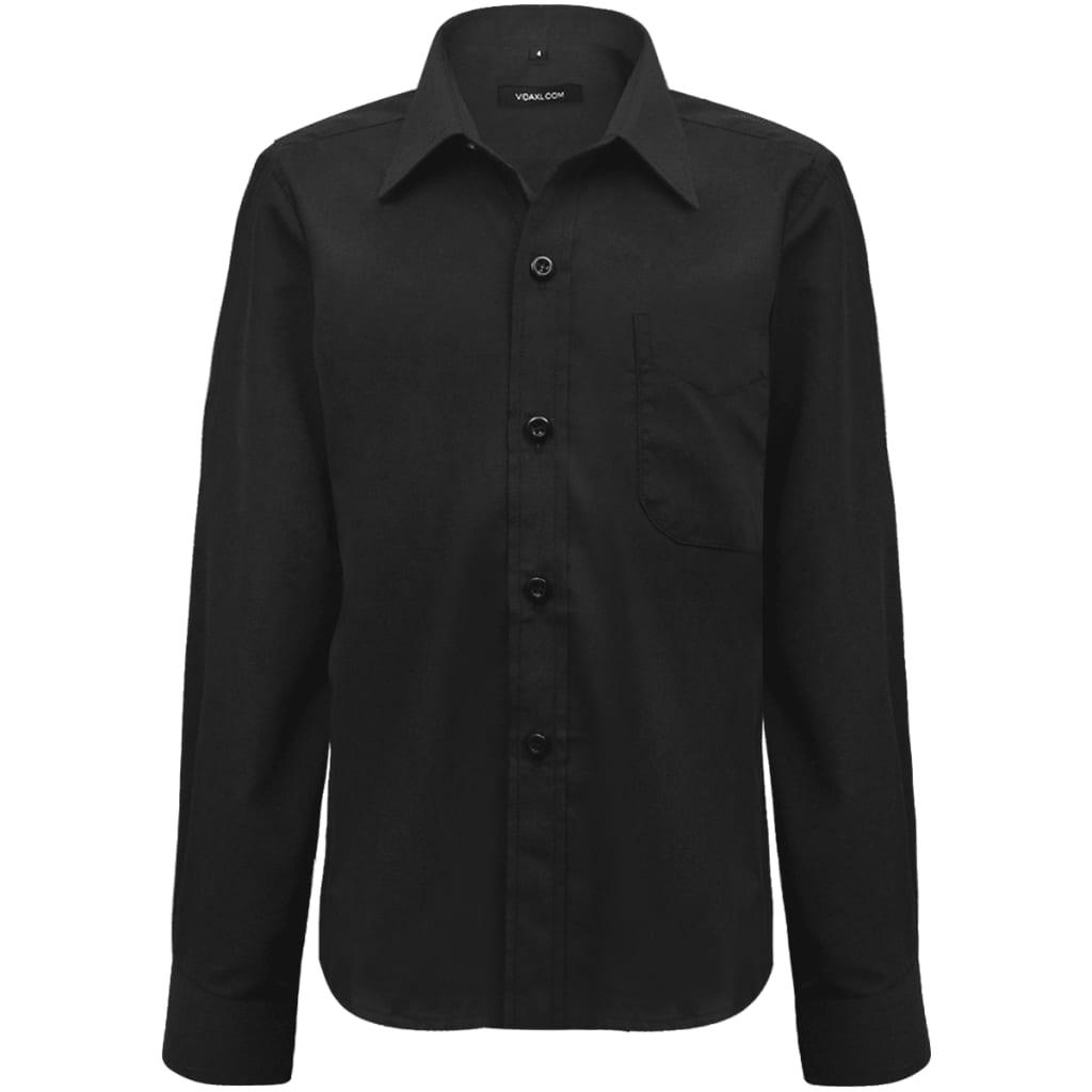 Chlapecká košile, dlouhý rukáv, černá, velikost 116-122