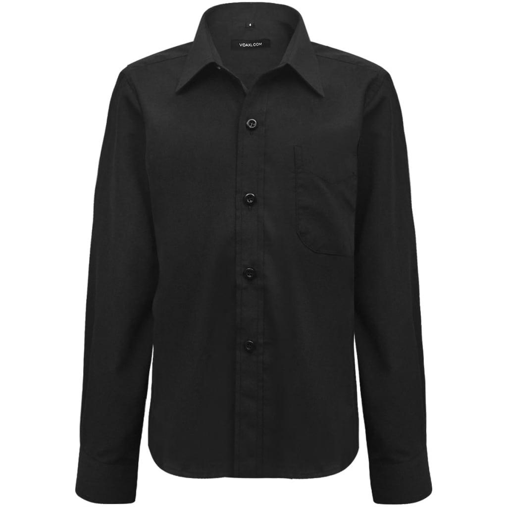 Chlapecká košile, dlouhý rukáv, černá, velikost 128-134