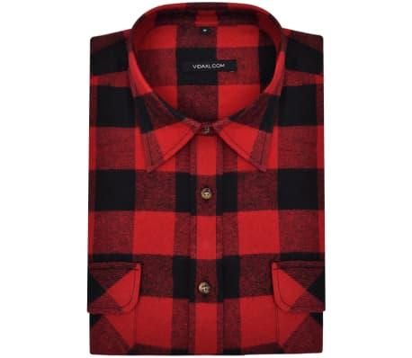 d918ab62a75d 2 ks Pánská zateplená flanelová pracovní košile červeno-černá kostka L 4 6